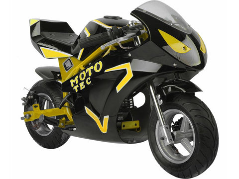 MotoTec MT-Gas-GT-Yellow Gas Pocket Bike GT 49cc 2-stroke Yellow - FunRidingToys.com