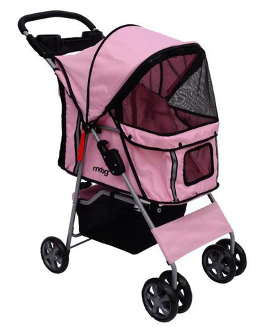 MDOG2 4-Wheel Front & Rear Entry MK0034 Pet Stroller (Pink) - FunRidingToys.com
