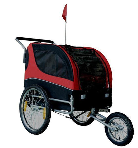 MDOG2 Comfy MK0291 Pet Bike Trailer/Jogging Stroller - Red/Black - FunRidingToys.com