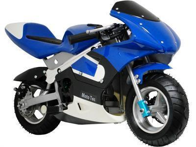 MotoTec Gas Pocket Bike Blue - Peazz.com