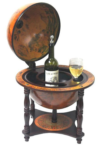 "Turin 16-1/2"" Diameter Italian Replica Tabletop Legged Globe Bar - Peazz.com"