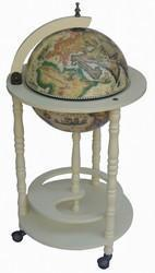 "Classic 16th Century Italian Style 20"" Diameter Floor Globe Bar - Off White - FunRidingToys.com"