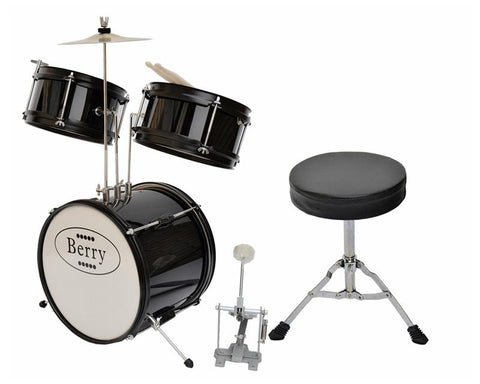 Berry Toys MKMU-3KS-BLK Complete Kids Small Drum Set with Cymbal, Stool, and Sticks - Black - FunRidingToys.com