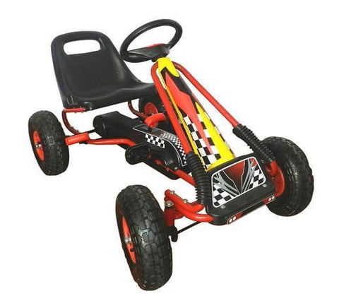Vroom Rider VRPK01-YEL Racing Pedal Go-Kart w/ Pneumatic Tire - Yellow - Peazz.com