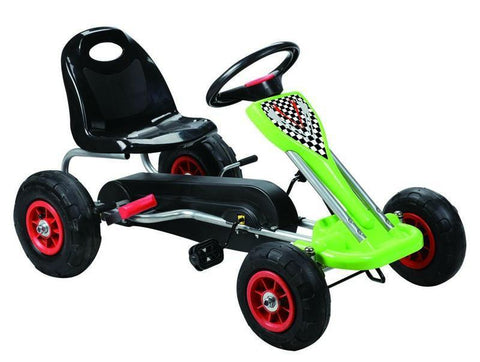 Vroom Rider VRPK04-GRN Speedy Pedal Go-Kart w/ Pneumatic Tire - Green - Peazz.com