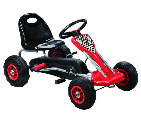 Vroom Rider VRPK04-RED Speedy Pedal Go-Kart w/ Pneumatic Tire - Red - Peazz.com