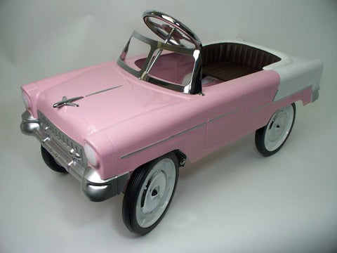 55 Classic Convertible Pedal Car: Pink and White 55P - FunRidingToys.com