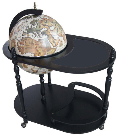 "Merske MK42004W-B Arezzo 17-1/2"" Diameter Globe Bar Trolley - White - Peazz.com"