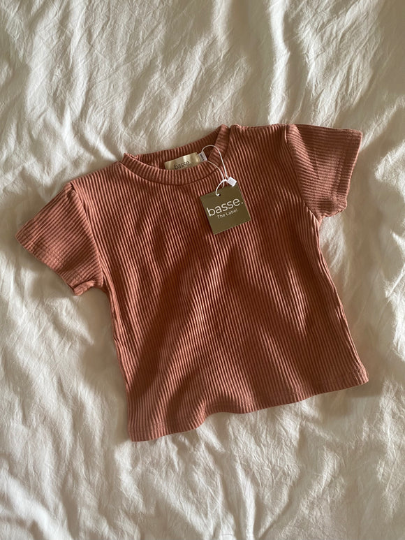 Ribbed Tee - Clay