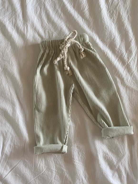 Relaxed Ribbed Pants - Sage