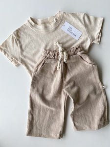 Wide Leg Linen Pants - Natural