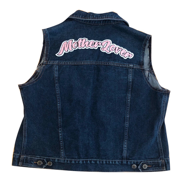 Upcycled Mother Lover Denim Vest (FREE PIN)