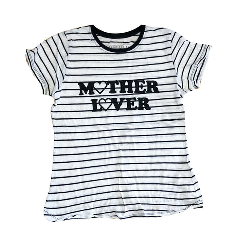 Upcycled Mother Lover Striped Crew Tee