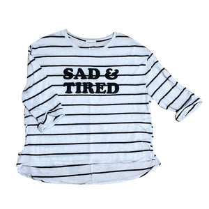 Upcycled Sad & Tired Striped 1/2 Sleeve Tee