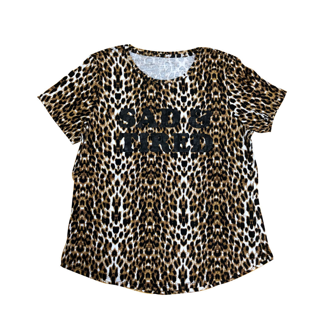 Upcycled Sad & Tired Leopard Print Tee