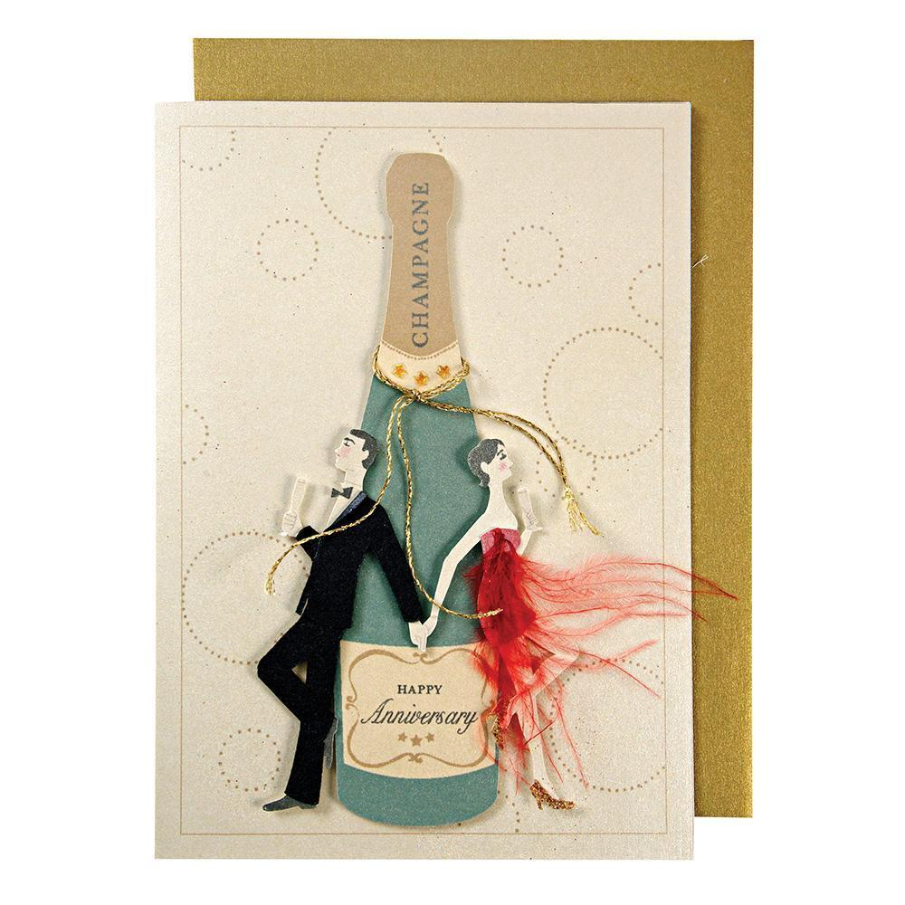Couple with Champagne Bottle Card