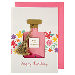 Floral Perfume Bottle Sequin Shaker Card