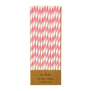 Pink & White Party Straws