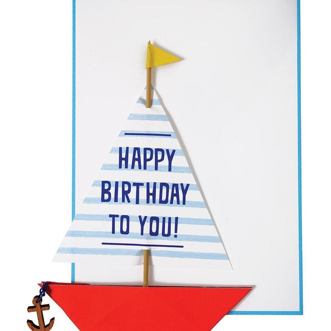 Sailing Boat with Wooden Anchor Card