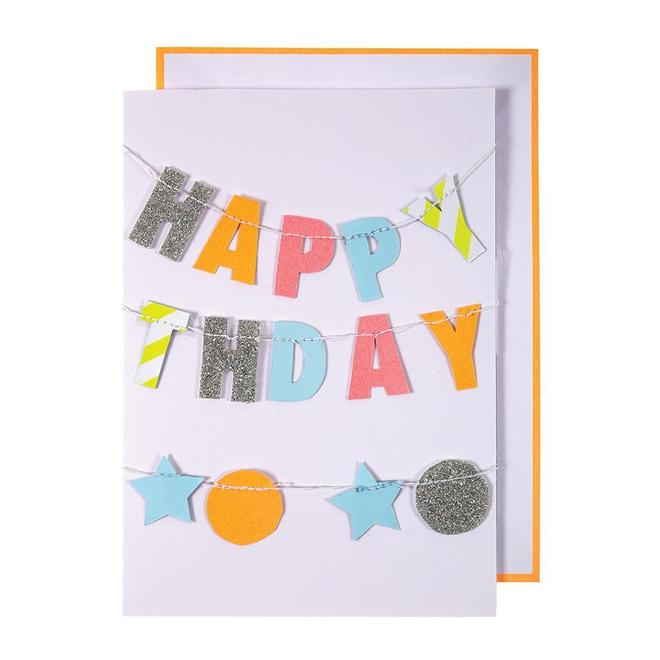 Colorful Happy Birthday Garland Card