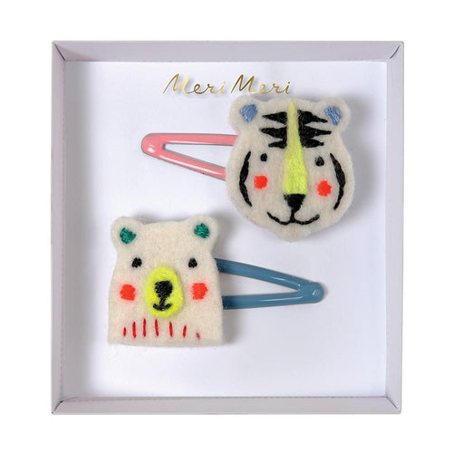 Embroidered Bear & Tiger Hair Clips