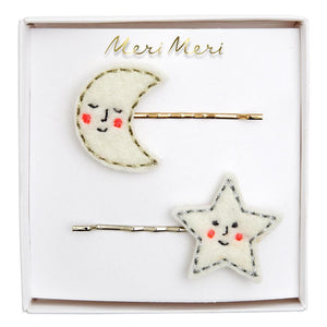 Happy Moon & Star Hair Slides