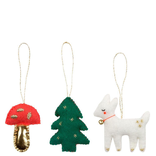 Woodland Felt Tree Decoration Set