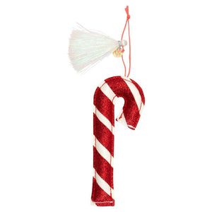 Candy Cane Glitter Fabric Tree Decoration