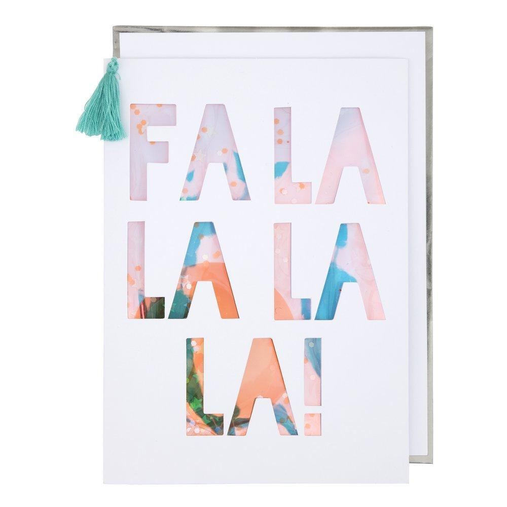 FA LA LA Sequin Shaker Card