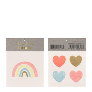 Rainbow & Hearts Small Tattoos
