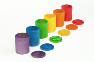 6 Coloured Cups with Lids