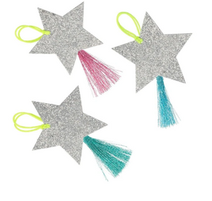 Silver sparkler Star Gift Tags