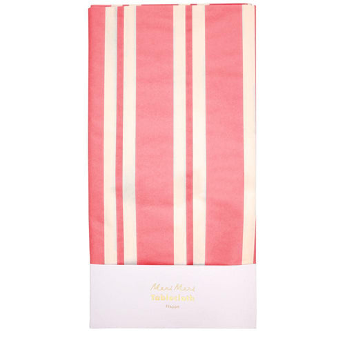 Pink Stripe Paper Tablecloth