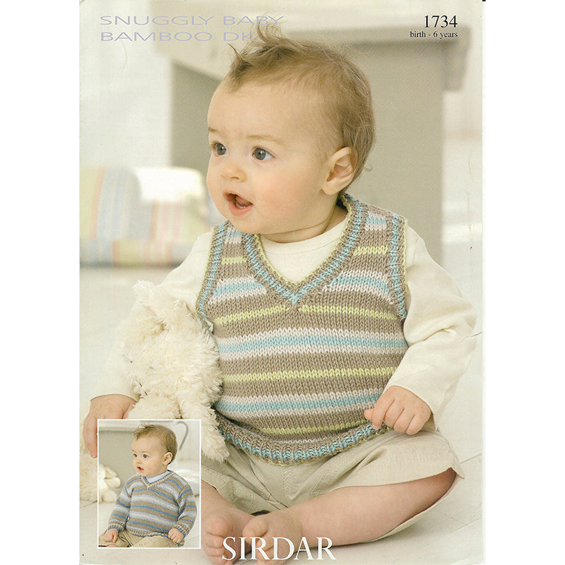 Sirdar 1734 Baby Bamboo Vest and Sweater – Knitting Time