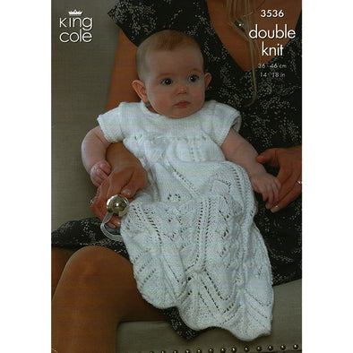 King Cole 3536 DK Baby Cape and Cardigan