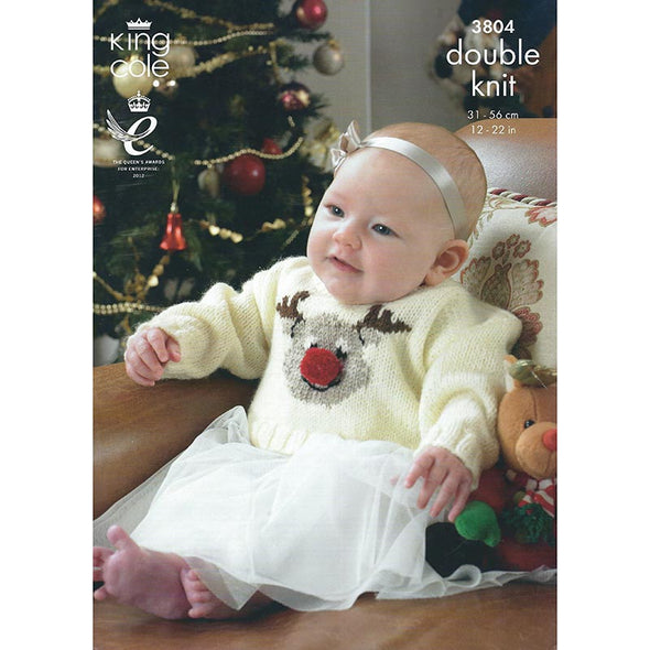 King Cole 3804 DK Sweater Reindeer and Santa