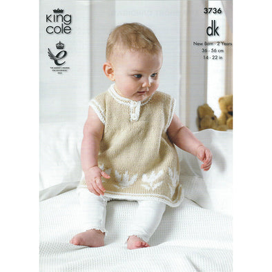 King Cole 3736 DK Dress and Cardigan with Tulip Image