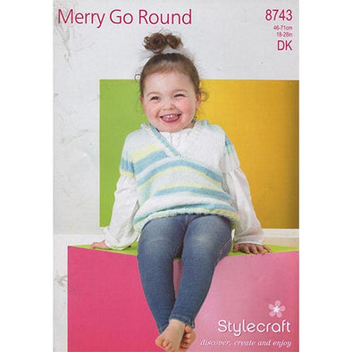 Stylecraft 8743 Merry Go Round DK Sweater with cross over front
