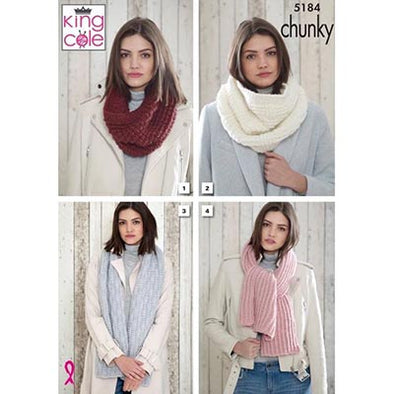 King Cole 5184 Scarves or Snoods Chunky