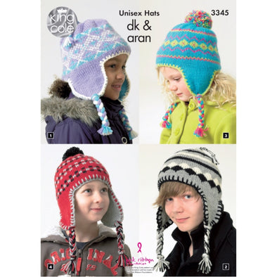 King Cole 3345 Unisex Hat DK and Aran