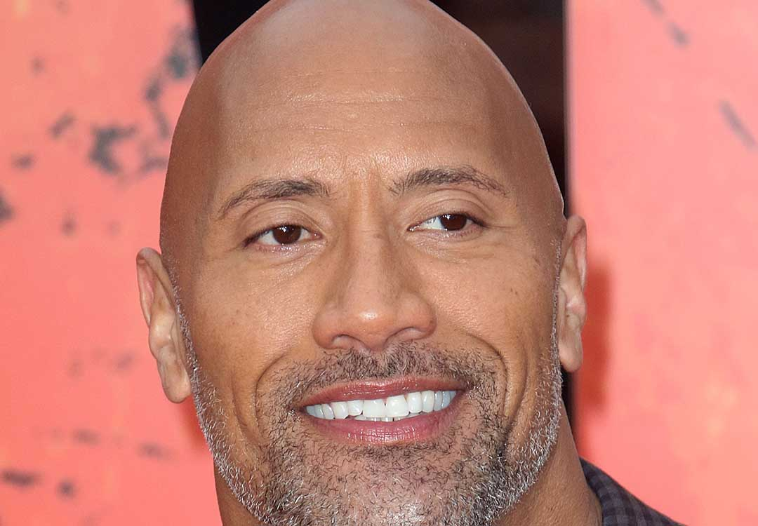 dwayne johnson bald portrait
