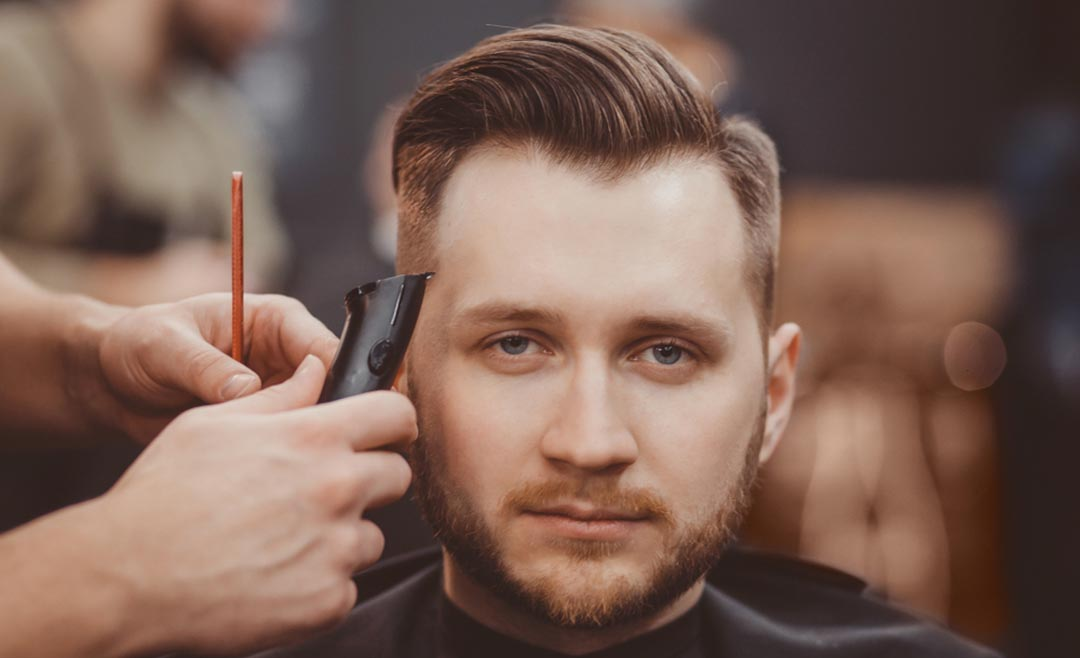 side swept hairstyle at barber shop