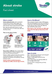 About Stroke fact sheet (English - pack of 50)