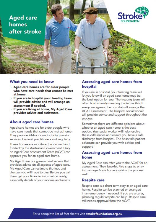 Fact sheet - Aged care homes after stroke (50 pack)
