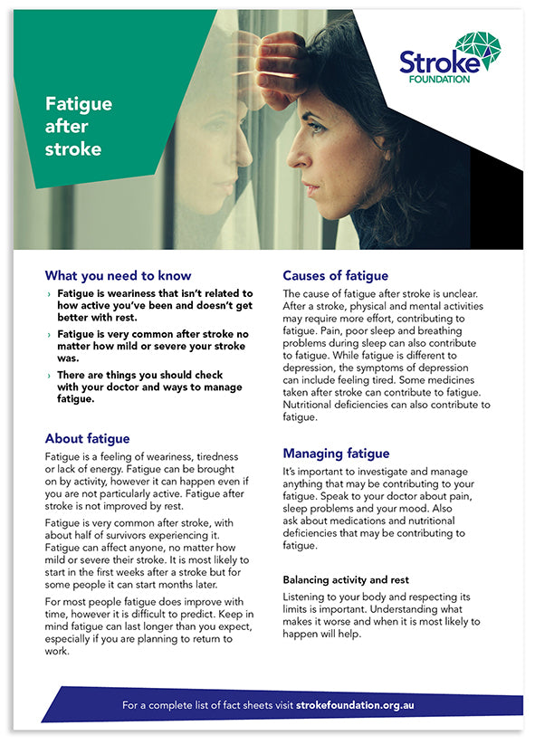 Fact sheet - Fatigue after stroke (50 pack)