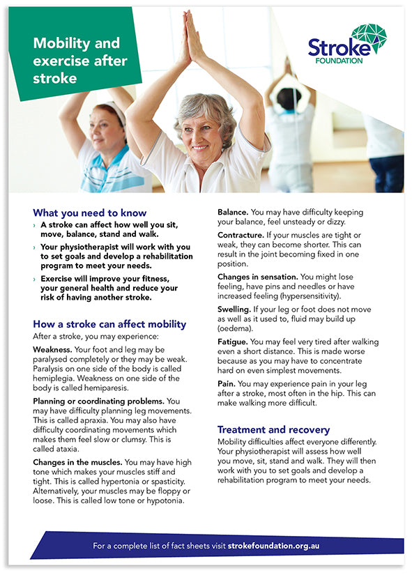 Fact sheet - Mobility and exercise after stroke (50 pack)