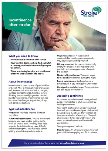 Fact sheet - Incontinence after stroke (50 pack)