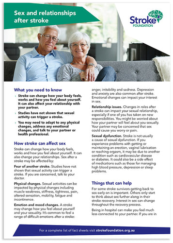 Fact sheet - Sex and relationships after stroke (50 pack)