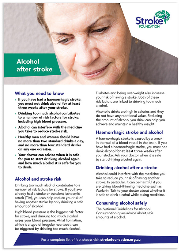 Fact sheet - Alcohol after stroke (50 pack)