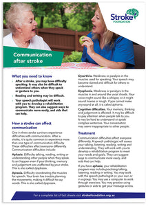 Fact sheet - Communication after stroke (50 pack)